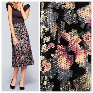 Antonio Melani Velvet & Sequin Midi Skirt sz 0
